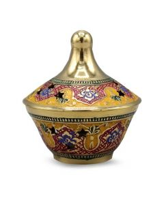 Brass Powder Pot Embossed 5 cm (GMP2)