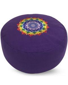 Meditatiekussen Chakra Lotus paars 36x17cm
