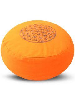 Meditatiekussen Flower of Life oranje 36x17cm