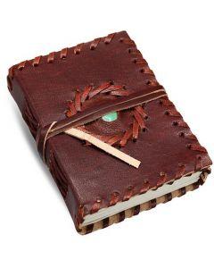 Leren Dagboek met half edelsteen 12x9cm