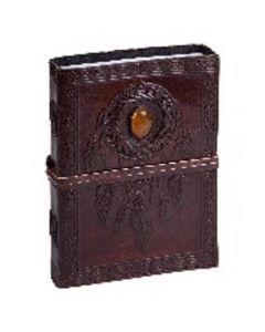 Vintage Leren Dagboek Pentagram met houten kaft