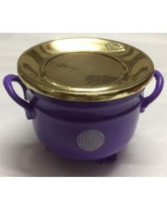 Purple Cauldron Flower of Life silver 10x11cm with brass Lid