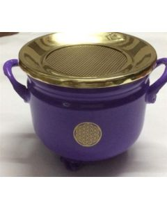 Purple Cauldron Flower of Life 10x11cm with brass Lid