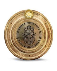 Wooden Incense Holder Brass Fatima Hand 10 cm