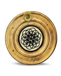 Wooden Incense Holder Flower Of Life 10 cm