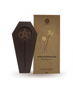 Wooden Coffin Incense Holder Pentagram
