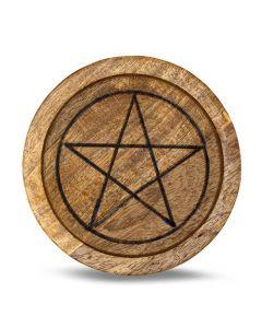 Mango Wood Crystal Grid Tray Pentagram 15 cm