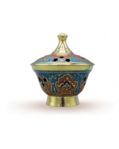 Brass Powder Pot Embossed 8 cm (GMP4)
